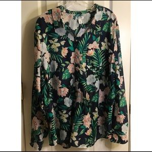 Old Navy Floral Print Sheer Button Down Blouse XXL